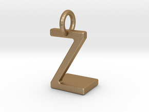 Two way letter pendant - LZ ZL in Matte Gold Steel