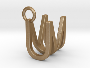 Two way letter pendant - MU UM in Matte Gold Steel