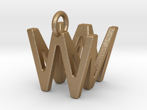 Two way letter pendant - MW WM in Matte Gold Steel