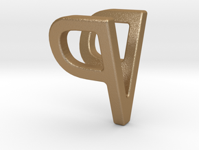 Two way letter pendant - PV VP in Matte Gold Steel