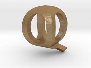 Two way letter pendant - QQ Q in Matte Gold Steel