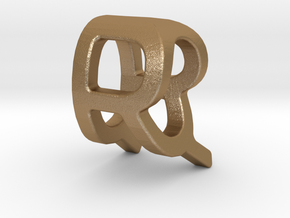 Two way letter pendant - QR RQ in Matte Gold Steel