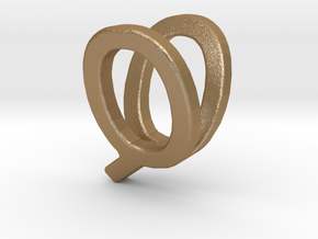 Two way letter pendant - QV VQ in Matte Gold Steel