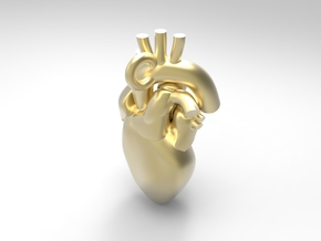 Human Heart Pendant in Polished Gold Steel