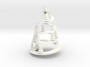 Spiral Tree Christmas Ornament in White Strong & Flexible Polished