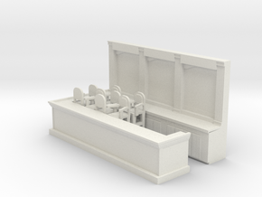 Bar & 8 Stools - HO 87:1 Scale in White Strong & Flexible