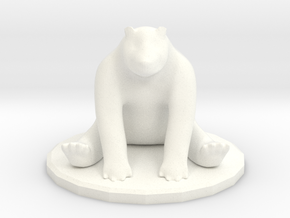 Sitting Bear Miniature  in White Strong & Flexible Polished