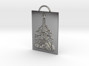Eiffel Tower - Paris, France - Solidarity Pendant in Polished Silver