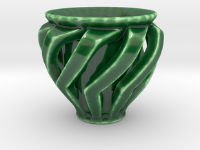 "Spiral ""Guinomi"" Cup-02 in Gloss Oribe Green Porcelain"