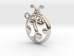 Tiny Ladybug Charm in Rhodium Plated