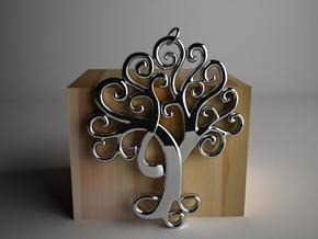 Life Tree Pendant in Polished Silver