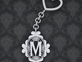 M Keychain Art Nouveau in White Strong & Flexible