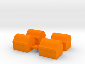 Game Piece, Treasure Chest 4-set in Orange Strong & Flexible Polished