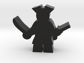 Pirate Meeple, With Sword And Pistol in Black Strong & Flexible