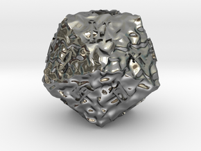ELDRITCH ROUGH d20 in Polished Silver