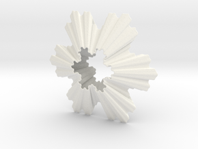 Koch Snowflake Ornament in White Strong & Flexible Polished