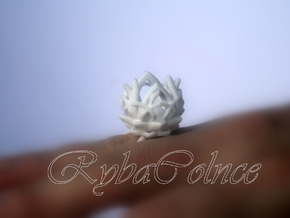 The Lotus Flower Ring / size 7 1/2 US in White Strong & Flexible