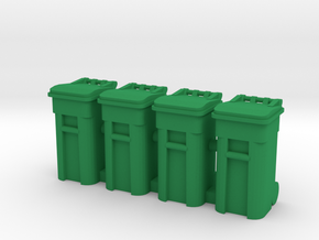 Trash Cart 64 gal - HO 87:1 Scale Qty (4) in Green Strong & Flexible Polished