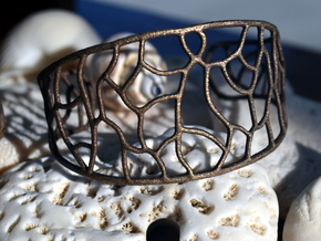 Bracelet abstract #3 in Matte Bronze Steel