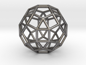 0275 Small Rhombicosidodecahedron E (a=1cm) #001 in Polished Nickel Steel