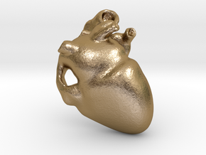 Golden Heart Pendant 30mm (~1.2 inches) in Polished Gold Steel