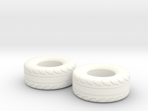 1/24 Scale Pair Of 325 70 15 MT Slicks in White Strong & Flexible Polished