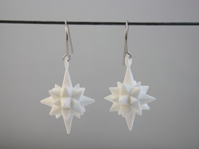 Moravian Star Earrings in White Strong & Flexible Polished