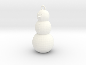 Snowman Ornament in White Strong & Flexible Polished
