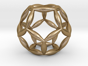 Flower Of Life Dodecahedron in Polished Gold Steel