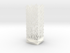Lamp Square Column - Undulation Design (ripples) in White Strong & Flexible Polished