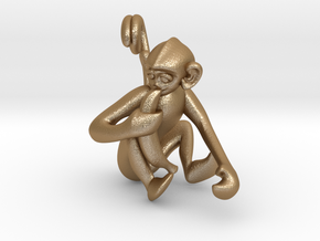 3D-Monkeys 254 in Matte Gold Steel
