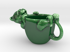 The Cat. Expresso coffee cup in Gloss Oribe Green Porcelain