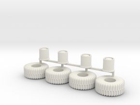HO scale heavy Equipment Tires 01 in White Strong & Flexible
