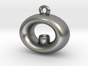 Candle Holder Pendant in Raw Silver