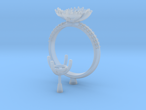 CC85- Engagement Ring With Separated Parts Printed in Frosted Extreme Detail