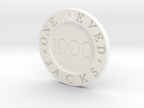 One Eyed Jacks Poker Chip (1-Sided) in White Strong & Flexible Polished