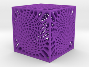 Voronoi cube lampshade ~ 100mm tall in Purple Strong & Flexible Polished
