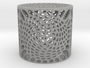 Voronoi capped cylinder lampshade in Raw Aluminum