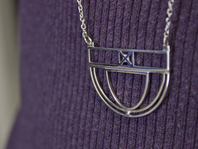Architectural Pendant in Rhodium Plated