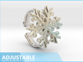 Snowflake Ring 1 d=16.5mm Adjustable h35d165a in Rhodium Plated