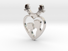 Two in One Heart with Doves V2 Pendant - Amour in Rhodium Plated