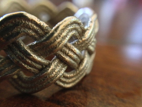 Turk's Head Knot Ring 4 Part X 10 Bight - Size 10 in Stainless Steel