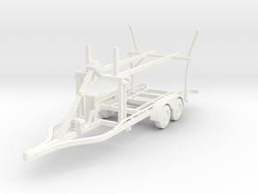 Boat trailer 01. 1:64 Scale  in White Strong & Flexible Polished