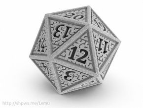 Hedron D20 SPINDOWN (Solid), balanced die in Polished Metallic Plastic