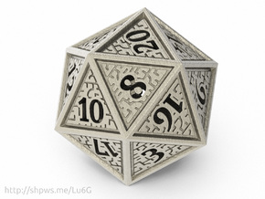 Hedron D20 (Hollow), balanced gaming die in Stainless Steel