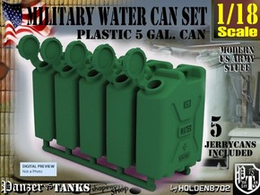 1-18 Military Water Can 5 Units in Green Strong & Flexible Polished