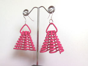 Ruffles -- Pair of Earrings in Pink Strong & Flexible Polished