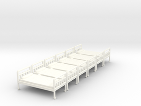 Bed 01. HO Scale (1:87) in White Strong & Flexible Polished
