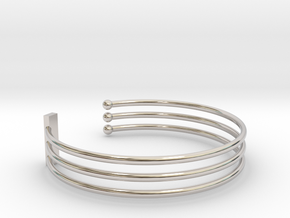 Tripple Bracelet Ø 63 Mm/2.48 inch R Medium in Rhodium Plated