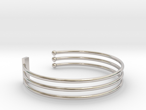 Tripple Bracelet Ø 58 mm/2.283 inch Small in Rhodium Plated